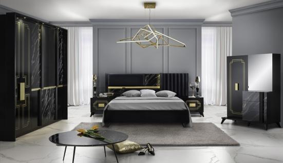 Schlafzimmer Set Beata 160x200 in Schwarz/Gold