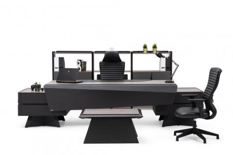 Ovali Büro Set 3-teilig Mercury Schwarz Holzoptik