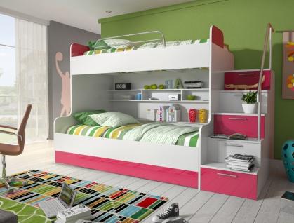 Hochbett mit Treppe Beluzi mit Bettkasten in Pink