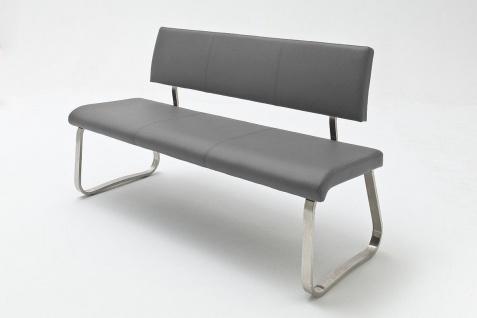 Sitzbank Menni Edelstahl Grau Echtes Leder 175