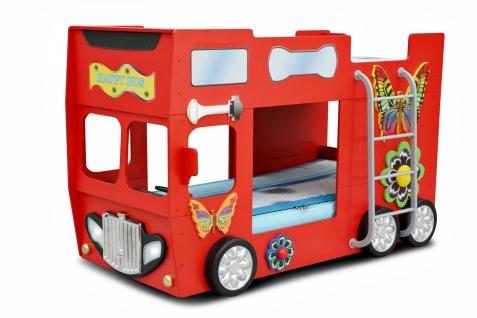 Autobett Happy Bus inkl. Matratze in Rot mit Leiter