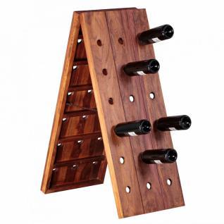 WOHNLING Weinregal Massiv-Holz Sheesham Flaschenregal für 36 Flaschen Standregal mit Kette zusammenklappbar Holzregal