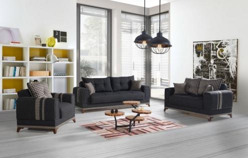 Couch Sofa Garnitur mit Stauraum Grau Okyanus 3+2+1