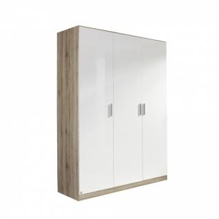 Drehtürenschrank CELLE weiß / Eiche Sanremo 136 x 197 x 54 cm