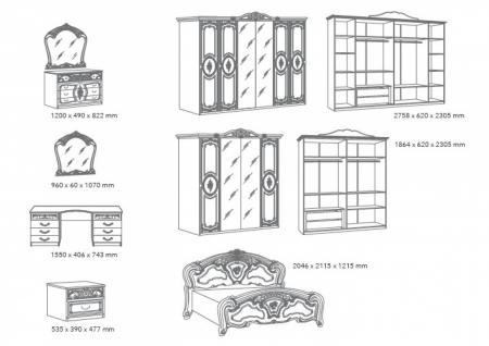 Schlafzimmer Barock Stil Julianna 4-teilig Weiß Gold - Vorschau 2