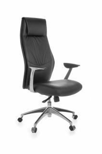 XXL Chefsessel OXFORD 1 Echtleder Schwarz Bürostuhl 5-Punkt Synchronmechanik Drehstuhl 120kg