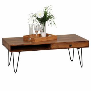 WOHNLING Couchtisch Massiv-Holz Sheesham 120cm breit Wohnzimmer-Tisch Design Metallbeine Landhaus-Stil Beistelltisch
