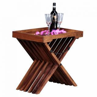 WOHNLING Beistelltisch Massivholz Sheesham Design Klapptisch Serviertablett und Tisch-Gestell klappbar Landhaus-Stil