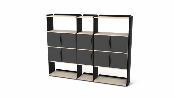 Ovali Bücherregal 12-Fächer Prime Schwarz Creme