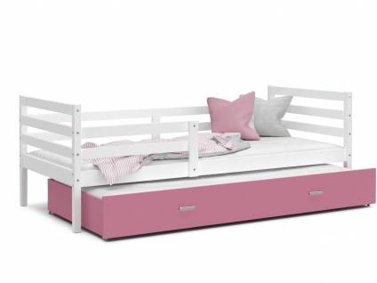 Kinderbett mit Gästebett Weiß Rosa Rico 80x190