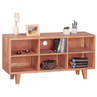 WOHNLING Lowboard Massivholz Akazie Kommode 118cm TV-Board 6 Fächer Landhaus-Stil dunkel-braun Unterschrank TV-Möbel