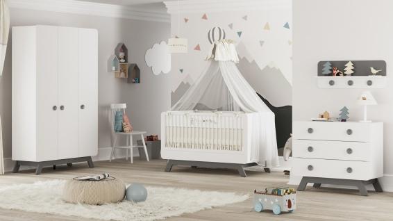 Almila Babyzimmer Set Baby Cute 4-teilig Weiß-Grau