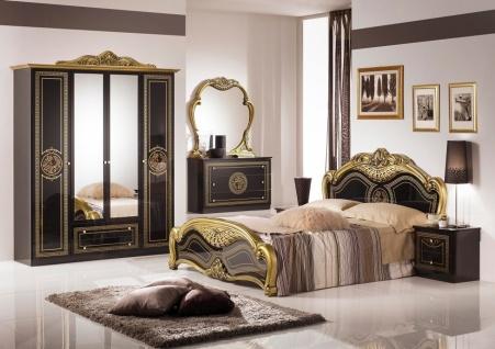 Schlafzimmer Schwarz Lusinda mit 4-türigem Schrank