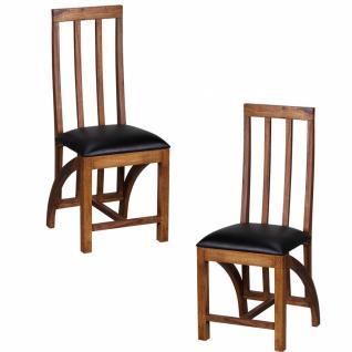 2x Sheesham Massivholz Esszimmerstuhl mit Sitzfläche Leder Optik Schwarz