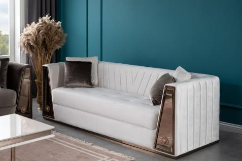 Lidya Sofa 3-Sitzer mit Kissen Lucca in Weiß