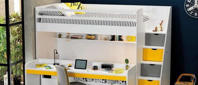 Hochbett Set Neo mit drei Schlafplätzen Weiß Gelb