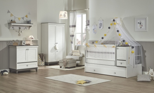 Almila Babyzimmer Set Mia mit Schaukelbett & LEDs