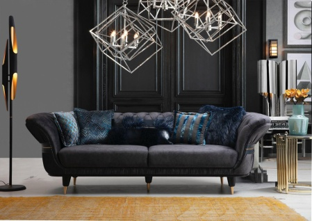 Sofa Londos 3-Sitzer Grau in edlem Design