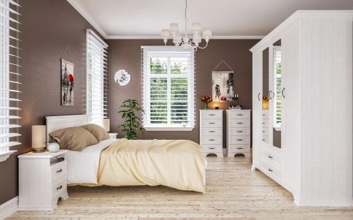 Schlafzimmer Set Landhaus Weiß Juna 140x200