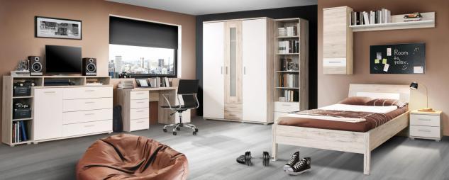 Jugendzimmer komplett Sandeiche Weiß Anton