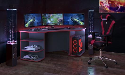 Gaming Tisch Xeno in Anthrazit Rot