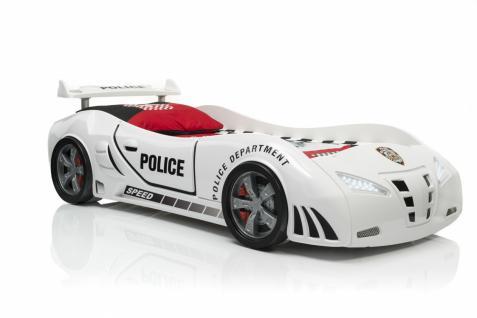 Autobett Police Kinderbett Polizei in Weiss - Vorschau 2