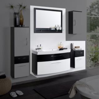 Bad-Kombination 3-teilig Anthrazit Hochglanz Weiß III mit Spiegel