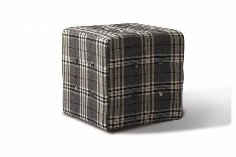 Sitzwürfel Minor mit Holzgestell und Samtbezug Grau