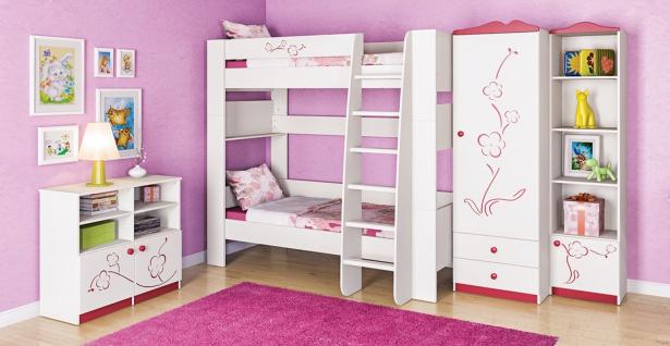 Kinderzimmer mit Etagenbett in Creme Sakura 4-teilig