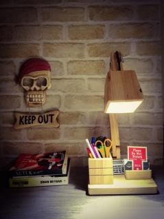Schreibtischlampe mit Stifthalter Holz Study