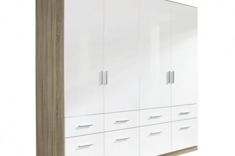 Drehtür-Kombischrank CELLE weiß / Eiche Sonoma 181 x 210 x 54 cm