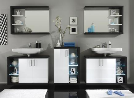 Badezimmer Set Bino 5-teilig Weiß Grau