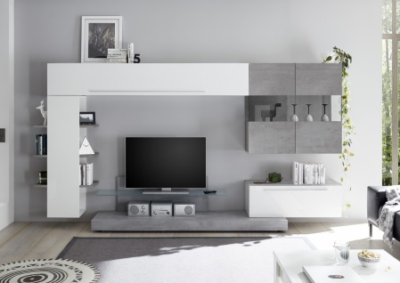 Wohnwand Set Weiß Beton Optik Veldig 6-teilig