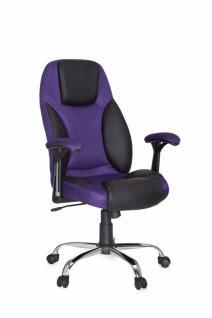 Design Chefsessel Imola Stoff / Leder Optik schwarz / purple Bürostuhl Bi-Color Drehstuhl