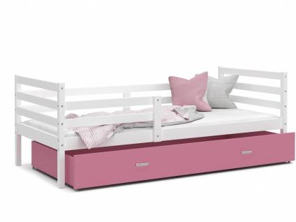 Kinderbett mit Bettkasten Weiß Rosa Rico 90x200