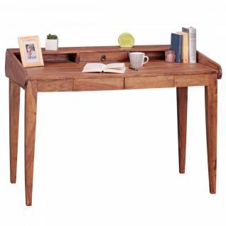 WOHNLING Schreibtisch Massiv-Holz Sheesham Sekretär 117 cm breit 3 Schubladen Design Ablage Büro-Tisch Landhaus-Stil