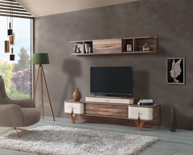 TV Wand Panama mit Lowboard & Wandregal