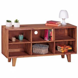 WOHNLING Lowboard Massivholz Sheesham Kommode 118cm TV-Board 6 Fächer Landhaus-Stil dunkel-braun Unterschrank TV-Möbel