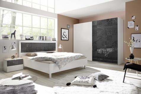 Schlafzimmer Set Weiß Anthrazit Xena 4-teilig