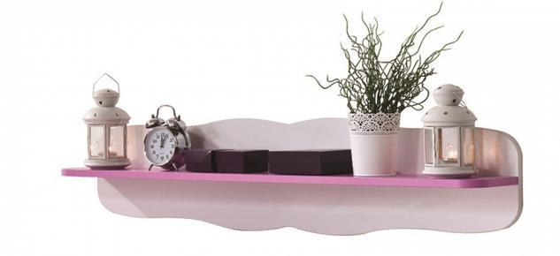 Wandregal HERZ Weiß mit pinkem Regalboden
