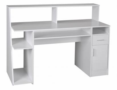 Multifunktion Schreibtisch Computertisch weiß 135 x 60 x 100 cm