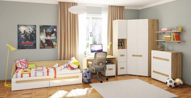 Jugendzimmer Set mit Eckschrank Leonardo 6-teilig