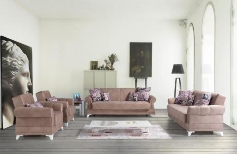 Couch Sofa Garnitur mit Stauraum in Rosa Royal 3+2+1