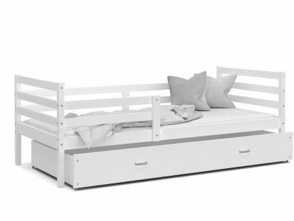 Kinderbett mit Bettkasten Weiß Rico 80x190