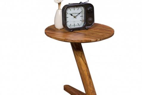 WOHNLING Beistelltisch Massivholz Sheesham Design Wohnzimmer-Tisch 45 x 45cm rund Nachttisch Natur-Holz Landhaus-Stil