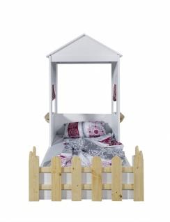 Kinderbett Homeland mit Dach in Weiß Pink