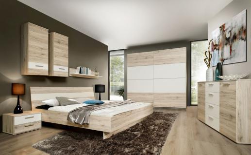 Schlafzimmer in Sandeiche Weiß Janette 7-teilig