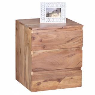 Design Natur Akazie Massivholz Rollcontainer mit 3 Schubladen