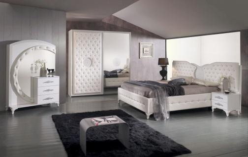 Schlafzimmer Set Antalya in Weiß/Silber 160x200