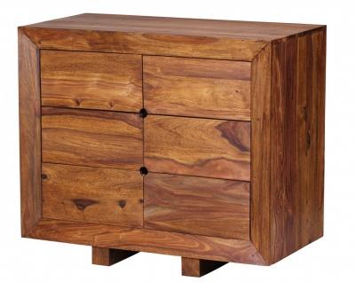 Sheesham Kommode Massiv 90 x 46 x 78 cm mit 6 Schubläden Sideboard Massivholz